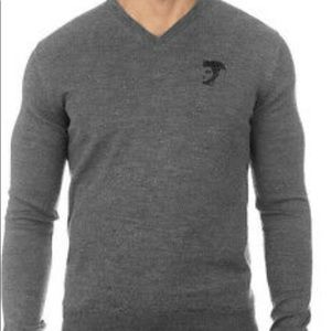 VERSACE COLLECTION V NECK GREY WOOL SWEATER Sz XL